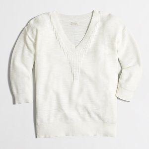 J. Crew chevron-stitch white v-neck light sweater